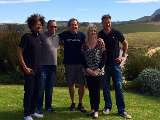 From left to right: Comedian and entertainer, Marc Lottering, TV talk show host, Dan Nicholl, Jean-Claude Martin, Carolyn Martin and ambassador for the Cape Whale Coast, Bob Skinstad.