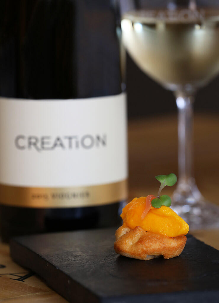 The versatile Creation Viognier pairs beautifully with the Almond and Apricot Biscuit, Carrot and Coconut with Pickled Ginger canapé served in our Tasting Room.