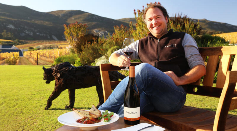 Our cellarmaster Jean-Claude Martin enjoying the Creation Syrah, Grenache with the ideal match: Spicy Chorizo Minestrone.