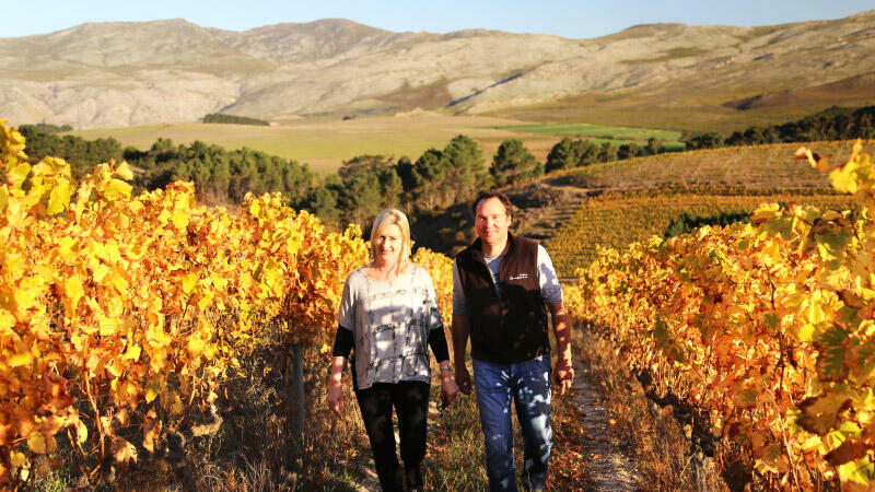 Carolyn and Jean-Claude strolling through the Grenache vineyard which was harvested just over a month ago.