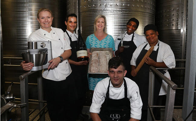 Carolyn Martin with the Creation Culinary team. From left to right - Eleanor Niehaus, Jaco Grové, Carolyn Martin, Diane Pick, Juline Daniëls and Francois Hugo.