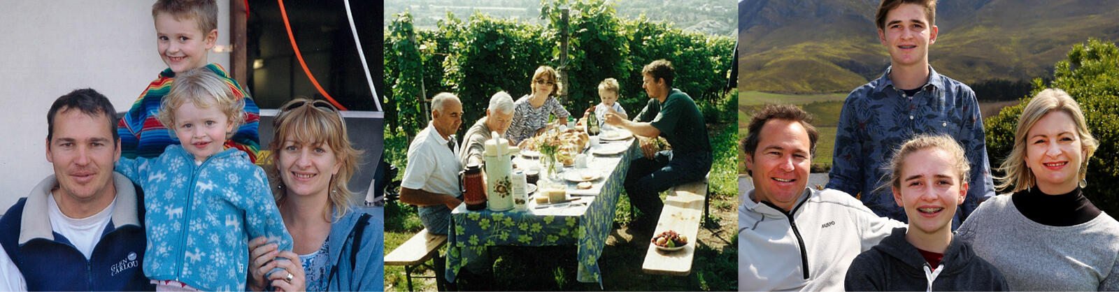 From left to right, the family in Grillette, Switzerland, lunch in the vineyards, the Martins at Creation, 2015