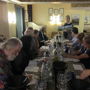 An image of Carolyn attending the Circle of Wine Writers' Dinner