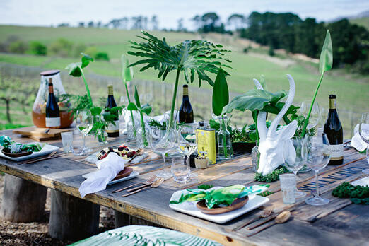 Table set between the vineyards at Creation