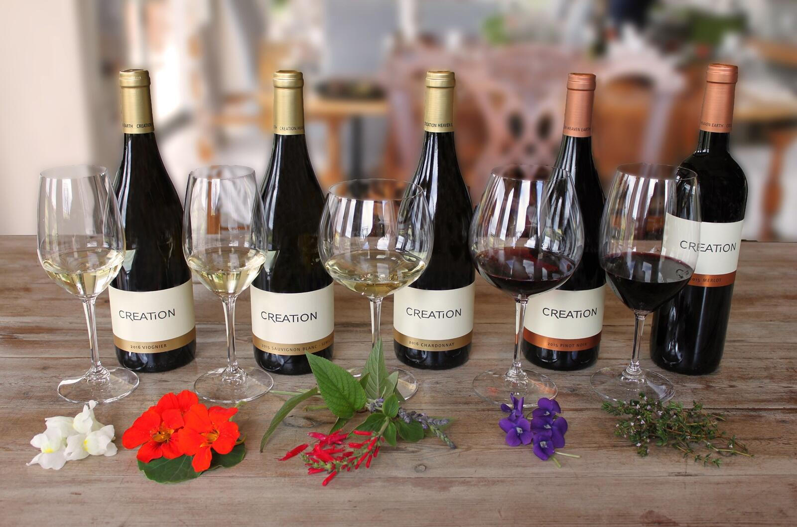 A variety of wines with their paired flowers