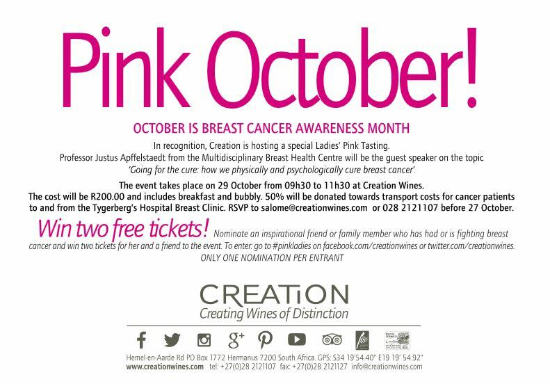An invitation to Creation's 29 October Pink October breast-cancer awareness event