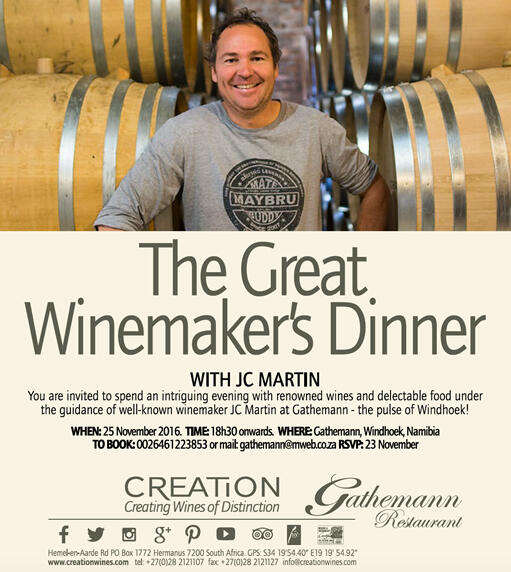 Invitation for 25 November to The Great Winemaker's Dinner in Windhoek