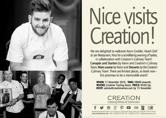 Invitation for 18:00, November 17 at Creation's Tasting Room for R550 p/p