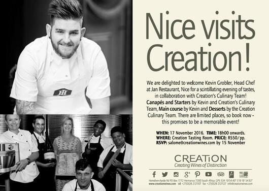 Invitation for 18:00, November 17 at Creation's Tasting Room for R550 p/p