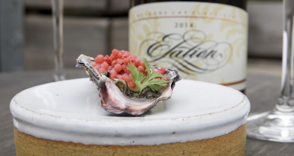 Sea-fresh Oysters Served With Coriander and Strawberry Reduction Pearls