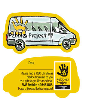 Pledge R30 by SMSing Pebbles 42646 BUS