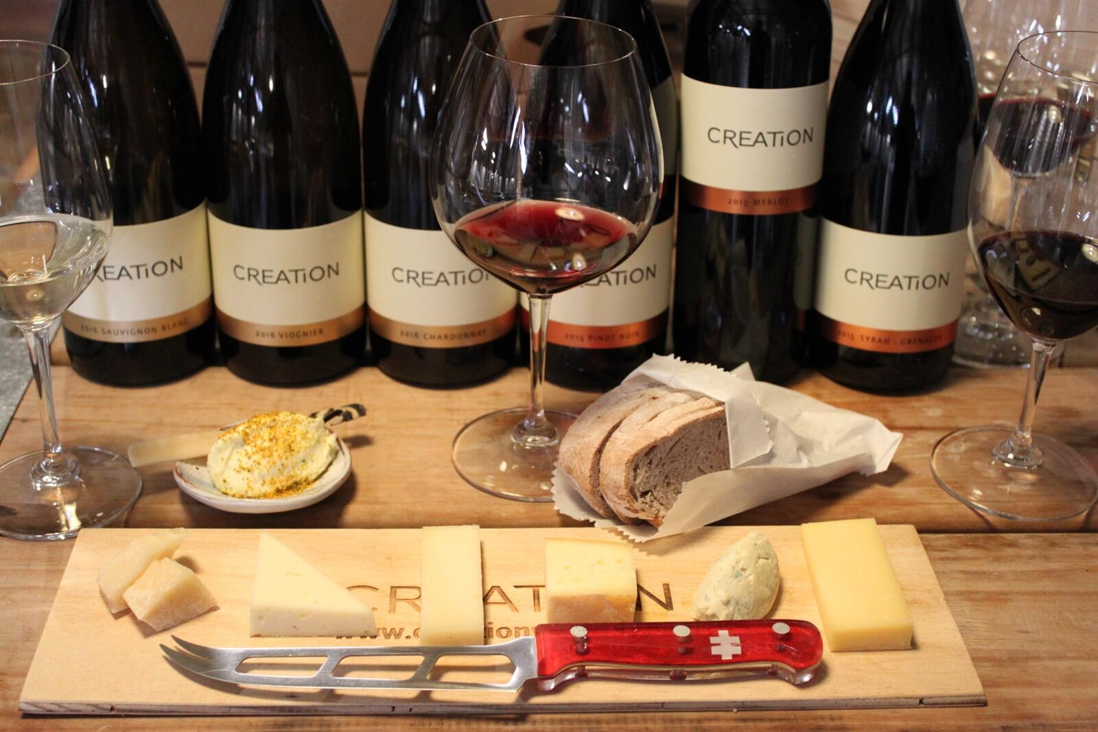A selection of cheeses and wines